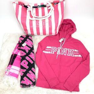 Pink Victoria's Secret Hoodie Blanquet Tote Bundle
